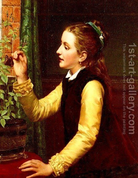 The Butterfly by Jan Frederik Pieter Portielje - Reproduction Oil Painting