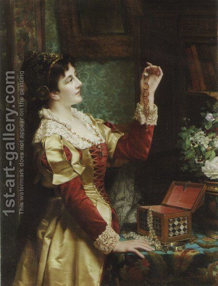 The Jewel Case by Jan Frederik Pieter Portielje - Reproduction Oil Painting