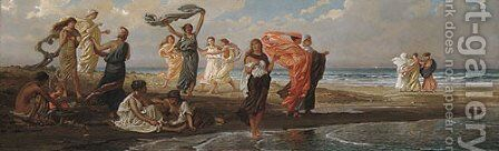 Greek Girls Bathing by Elihu Vedder - Reproduction Oil Painting