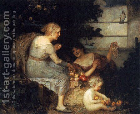 An Allegory of Plenty by Eduard Veith - Reproduction Oil Painting
