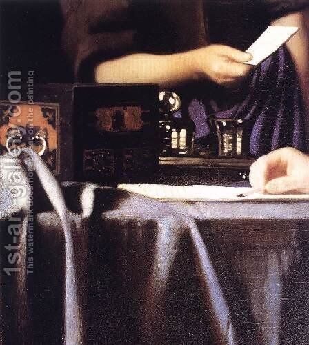 Lady with Her Maidservant Holding a Letter [detail: 3] by Jan Vermeer Van Delft - Reproduction Oil Painting