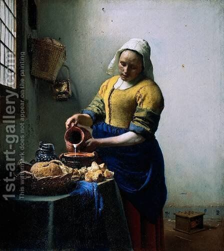The Kitchen Maid by Jan Vermeer Van Delft - Reproduction Oil Painting