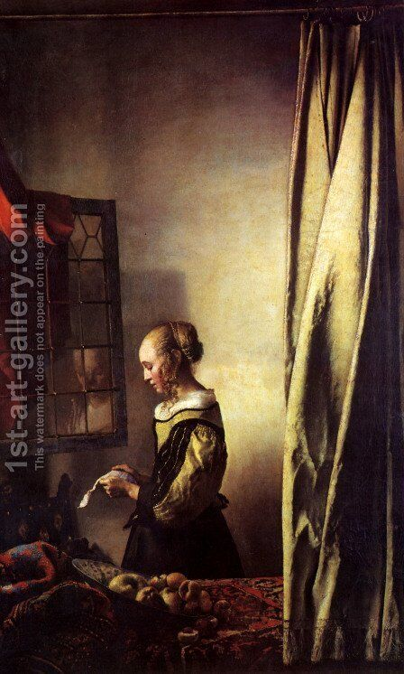 Girl Reading a Letter at an Open Window by Jan Vermeer Van Delft - Reproduction Oil Painting