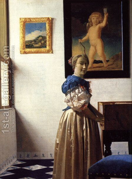 Young Woman Standing at a Virginal by Jan Vermeer Van Delft - Reproduction Oil Painting