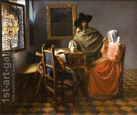 The Glass Of Wine by Jan Vermeer Van Delft - Reproduction Oil Painting