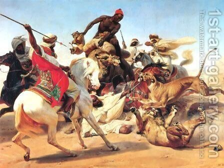 The Lion Hunt by Horace Vernet - Reproduction Oil Painting