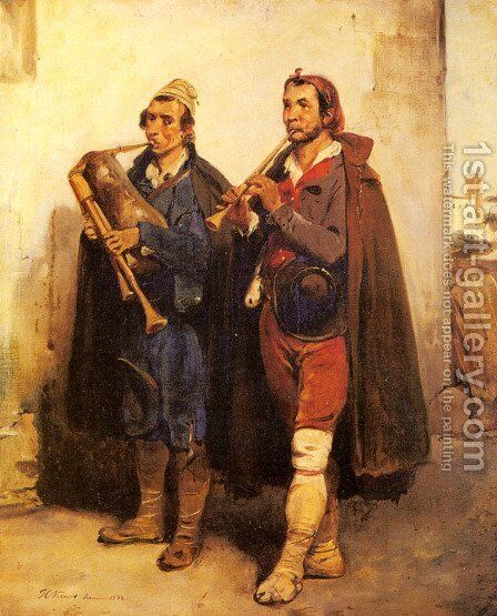 Village Musicians by Horace Vernet - Reproduction Oil Painting