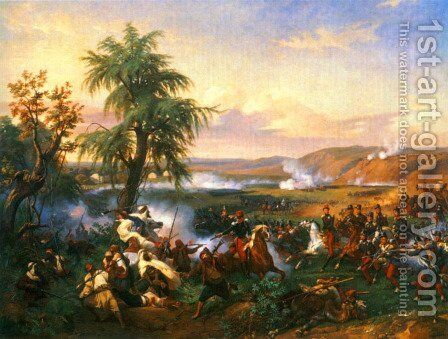 The Battle of Habra, Algeria, in December 1835 Between Emir Abd El Kadar and the Duke of Orleans by Horace Vernet - Reproduction Oil Painting