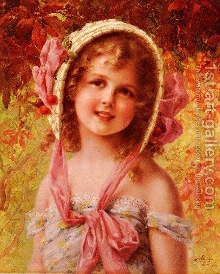 The Cherry Bonnet by Emile Vernon - Reproduction Oil Painting