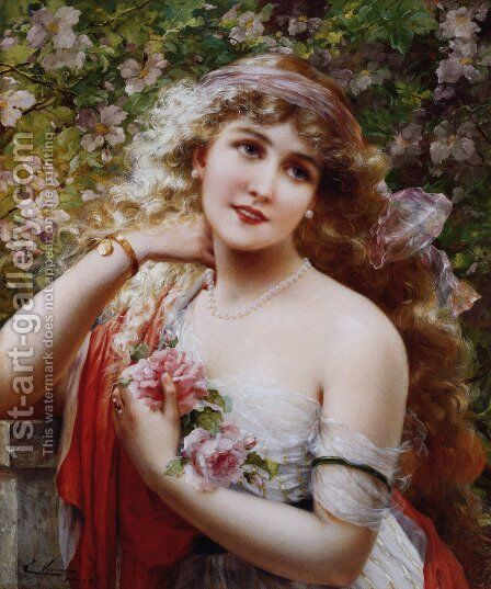 Young Lady With Roses by Emile Vernon - Reproduction Oil Painting