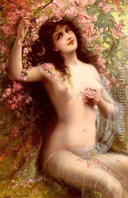 Among The Blossoms by Emile Vernon - Reproduction Oil Painting