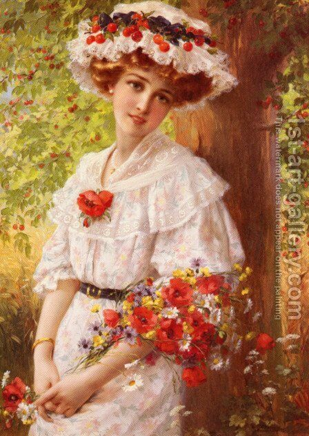 Under the Cherry Tree by Emile Vernon - Reproduction Oil Painting