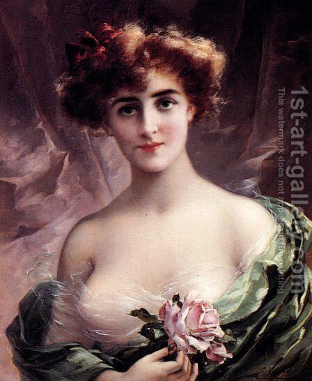 The Pink Rose by Emile Vernon - Reproduction Oil Painting
