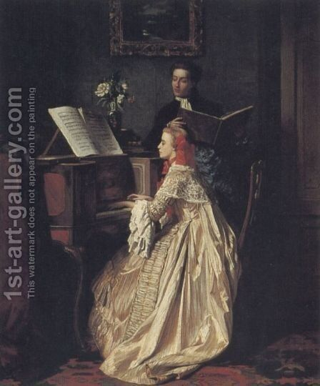 The Music Lesson by Jean Carolus - Reproduction Oil Painting