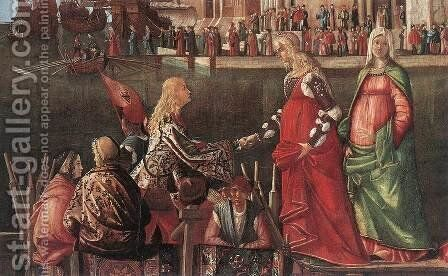 Meeting of the Betrothed Couple and the Departure of the Pilgrims [detail: 1] by Vittore Carpaccio - Reproduction Oil Painting