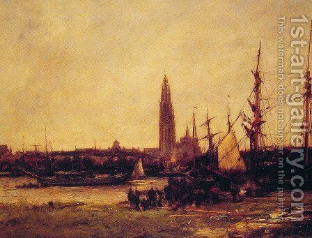 View of Antwerp by Antoine Vollon - Reproduction Oil Painting