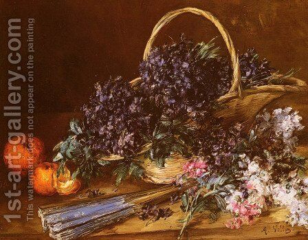 A Still Life with a Basket of Flowers, Oranges and a Fan on a Table by Antoine Vollon - Reproduction Oil Painting