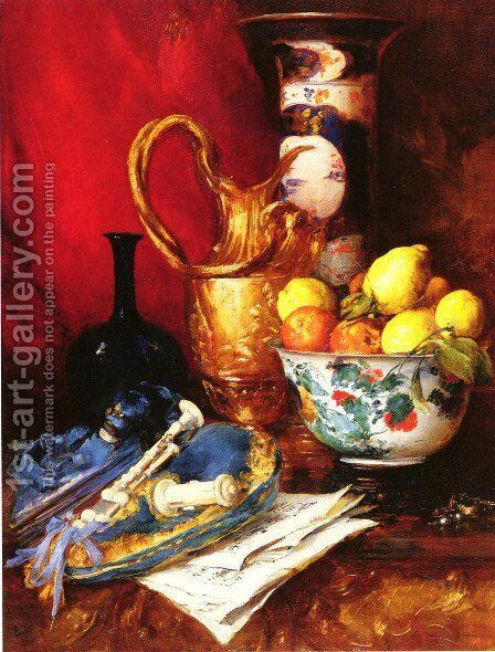 A Still Life with a Bowl of Fruit by Antoine Vollon - Reproduction Oil Painting