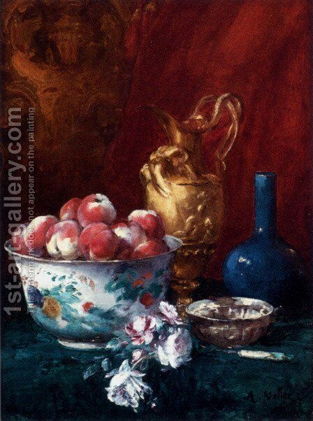 Still Life With Peaches by Antoine Vollon - Reproduction Oil Painting
