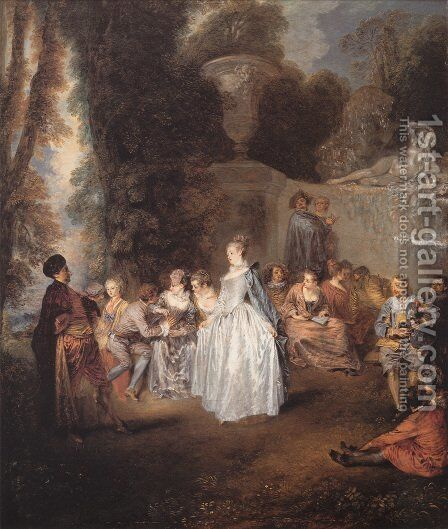 Les Fêtes vénitiennes (The Venitian Festival) by Jean-Antoine Watteau - Reproduction Oil Painting