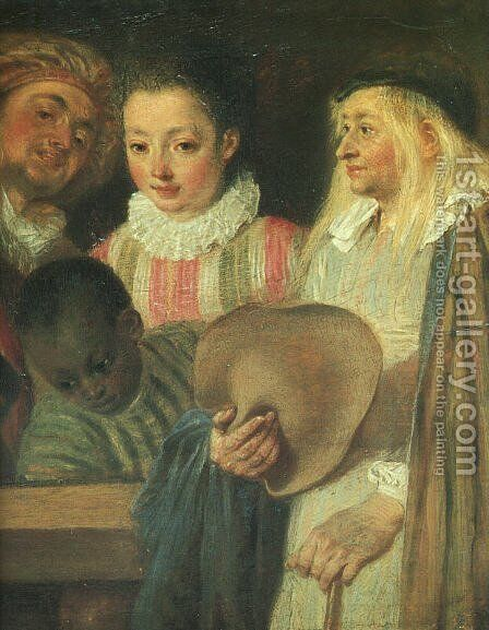 Actors from a French Theatre - detail by Jean-Antoine Watteau - Reproduction Oil Painting