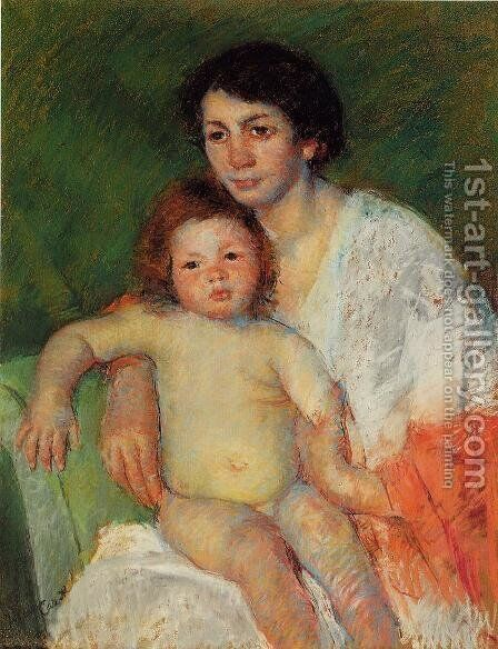 Nude Baby on Mother's Lap Resting Her Arm on the Back of the Chair by Mary Cassatt - Reproduction Oil Painting