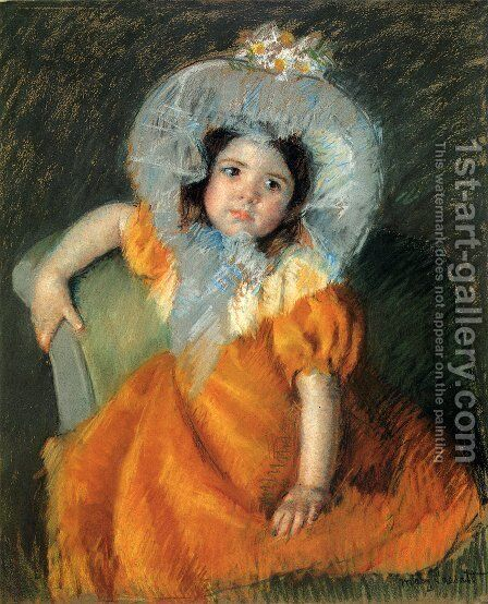 Child In Orange Dress by Mary Cassatt - Reproduction Oil Painting