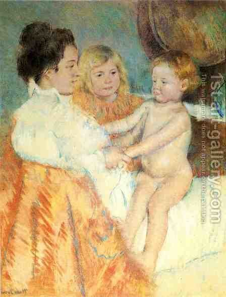 Mother, Sara and the Baby (counterproof) by Mary Cassatt - Reproduction Oil Painting