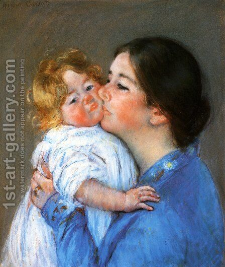 A Kiss For Baby Anne by Mary Cassatt - Reproduction Oil Painting