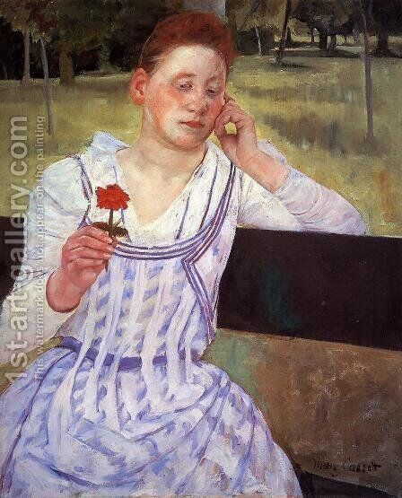 Reverie (or Woman with a Red Zinnia) by Mary Cassatt - Reproduction Oil Painting