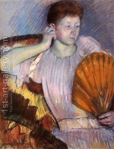 Contemplation (or Clarissa Turned Right with Her Hand to Her Ear) by Mary Cassatt - Reproduction Oil Painting