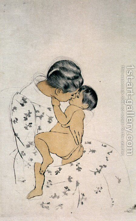 Mother's Kiss by Mary Cassatt - Reproduction Oil Painting