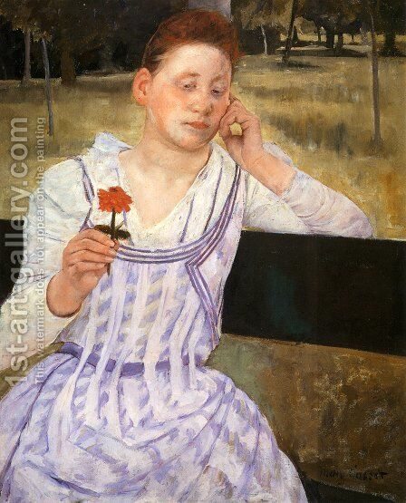 Woman With A Red Zinnia by Mary Cassatt - Reproduction Oil Painting