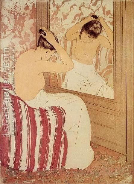 The Coiffure (study) by Mary Cassatt - Reproduction Oil Painting