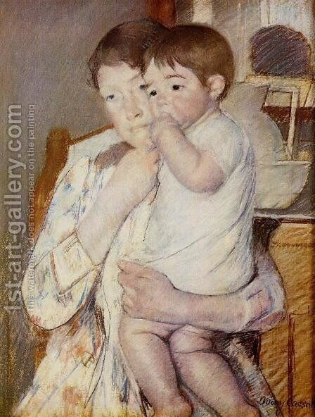 Baby in His Mother's Arms, Sucking His Finger by Mary Cassatt - Reproduction Oil Painting
