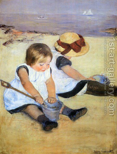 Children Playing On The Beach by Mary Cassatt - Reproduction Oil Painting