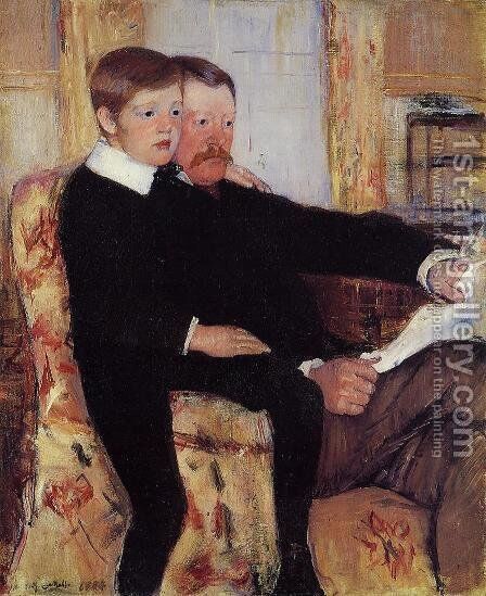 Portrait of Alexander J. Cassat and His Son Robert Kelso Cassatt by Mary Cassatt - Reproduction Oil Painting