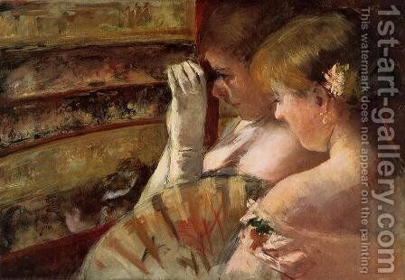 A Corner of the Loge (or In the Box) by Mary Cassatt - Reproduction Oil Painting