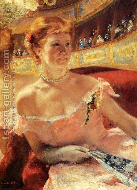 Woman With A Pearl Necklace In A Loge by Mary Cassatt - Reproduction Oil Painting