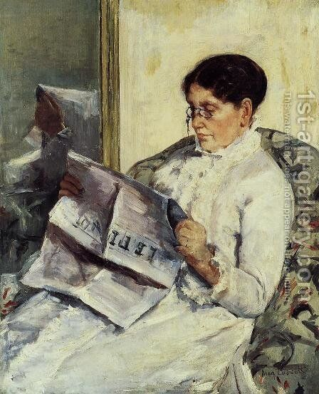 Portrait of a Lady (or Reading 'Le Figaro') by Mary Cassatt - Reproduction Oil Painting