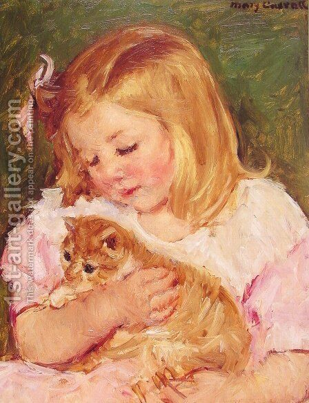 Sara Holding A Cat by Mary Cassatt - Reproduction Oil Painting