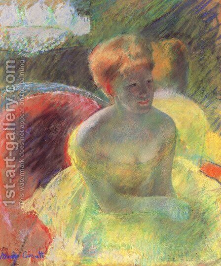 Lydia Leaning on Her Arms, Seated in a Loge by Mary Cassatt - Reproduction Oil Painting