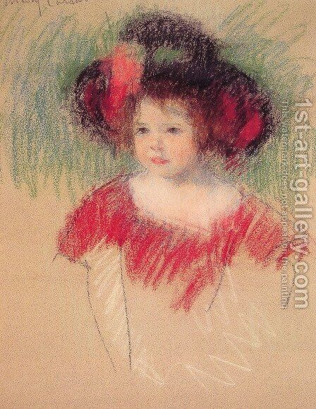 Margot In Big Bonnett And Red Dress by Mary Cassatt - Reproduction Oil Painting