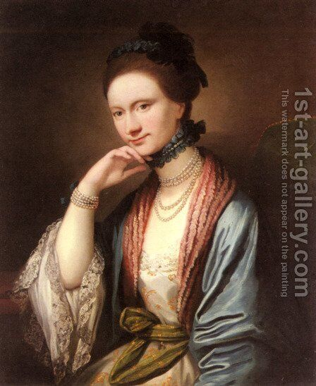 Portrait of Ann Barbara Hill Medlycott (1720-1800) by Benjamin West - Reproduction Oil Painting