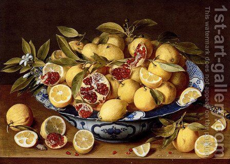 A Still Life Of A Wanli Kraak Porcelain Bowl Of Citrus Fruit And Pomegranates On A Wooden Table by Gerrit Van Honthorst - Reproduction Oil Painting