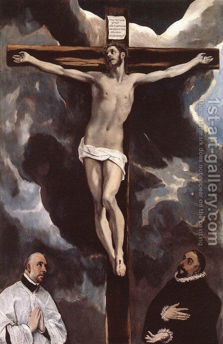 Christ on the Cross Adored by Donors by El Greco - Reproduction Oil Painting