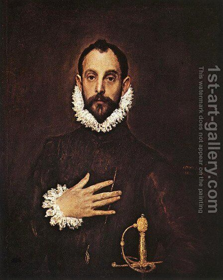 The Knight with His Hand on His Breast by El Greco - Reproduction Oil Painting