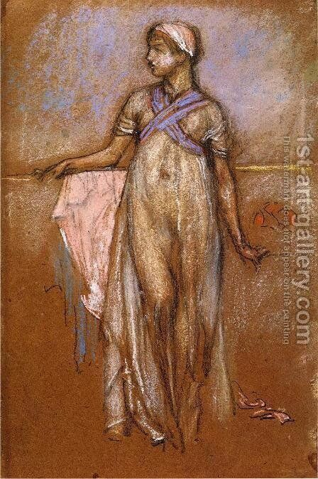 The Greek Slave Girl (or Variations in Violet and Rose) by James Abbott McNeill Whistler - Reproduction Oil Painting