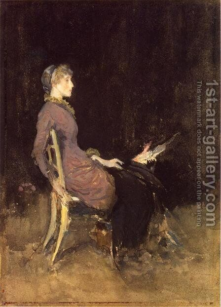 Black and Red (or Study in Black and Gold (Madge O'Donoghue)) by James Abbott McNeill Whistler - Reproduction Oil Painting