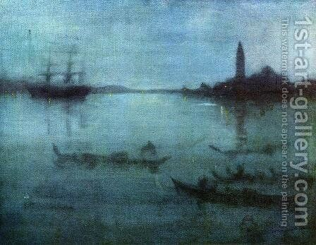 Nocturne in Blue and Silver: The Lagoon, Venice by James Abbott McNeill Whistler - Reproduction Oil Painting